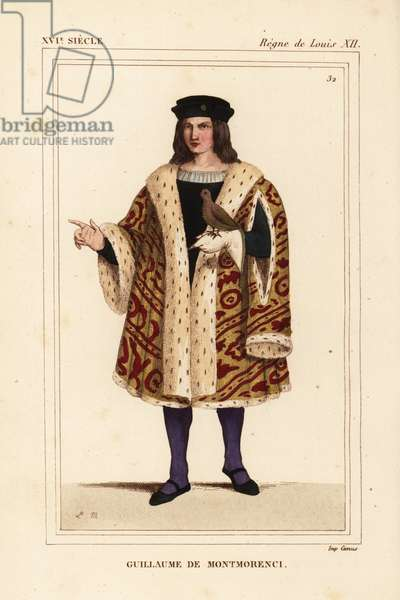 Guillaume de Montmorency, Lord of Chantilly, General of the King's Finance, son of John II Baron Montmorency, 1453-1531. Handcoloured lithograph by Leopold Massard after a miniature depicting the court of Louis XII in Roger de Gaignieres' portfolio VII 140 from Le Bibliophile Jacob aka Paul Lacroix's Costumes Historique de la France (Historical Costumes of France), Administration de Librairie, Paris, 1852.