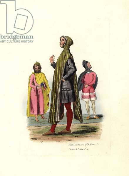 """Costume from the period of William II (ca. 1056-1100): man in a hooded coat, wearing tunic and stockings. Inspired by a manuscript from the Cotton library. Lithograph by Charles Martin, engraving by Leopold Martin, published in """""""" Costumes civils d'Angleterre depuis la conquete à nos jours"""", 1842, London."""