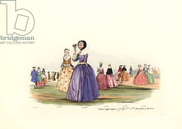 """Women's costumes from 1719 to 1755, regne of George I (1660-1727) and George II (1683-1760), Long dresses with cuffs, fan and bridle hat. Lithograph by Charles Martin, engraving by Leopold Martin, published in """""""" Costumes civils d'Angleterre depuis la conquete à nos jours"""", 1842, London."""