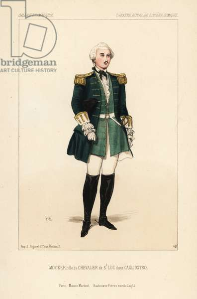 English tenor Toussaint-Eugene-Ernest Mocker as the Chevalier de St. Luc in Cagliostro by Eugene Scribe, Theatre Royal de l'Opera Comique, 1843. Handcoloured lithograph after an illustration by Victor Dollet from Galerie Dramatique: Costumes des Theatres de Paris, Paris, 1844.