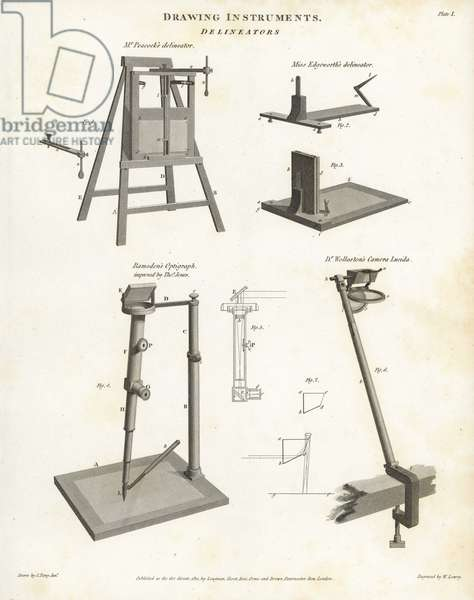 Drawing instruments including perspective aids such as Mr. Peacock's delineator and Miss Maria Edgeworth (1767-1849)'s delineator, Jesse Ramsden (1735-1800)'s optigraph improved by Thomas Jones and Dr. William Hyde Wollaston's camera lucida. Copperplate engraving by Wilson Lowry after a drawing by John Farey Jr. from Abraham Rees' Cyclopedia or Universal Dictionary of Arts, Sciences and Literature, Longman, Hurst, Rees, Orme and Brown, London, 1812.