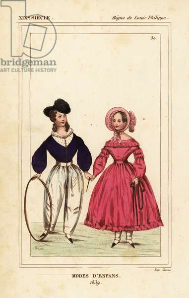 French children's fashions, 1839. The boy holds a hoop and stick and the girl a skipping rope. Handcoloured lithograph from Le Bibliophile Jacob aka Paul Lacroix's Costumes Historique de la France (Historical Costumes of France), Administration de Librairie, Paris, 1852.