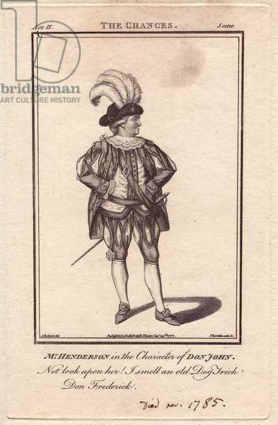 """Portrait of John Henderson (1747-1785), in the role of Don Juan, in The Chances of Francis Beaumont and John Fletcher. Henderson was a British actor who shone in the roles of Lago, in Othello, Falstaff in Les joyeuses commeres de Windsor and Henry IV, plays by William Shakespeare (1564-1616). Engraving by Thornthwaite, based on a portrait of J. Roberts published in """"Bell's British Theatre"""", 1777."""