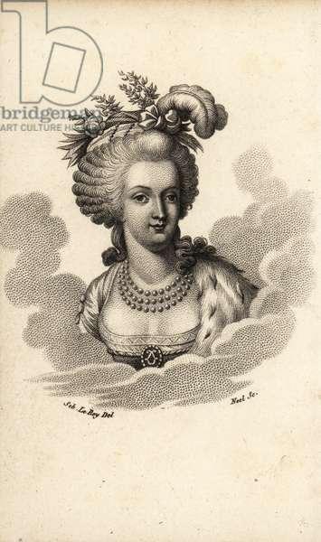 Portrait of Queen Marie Antoinette, 1815 (lithograph)