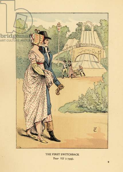 Fashionable couple at the Russian Mountains rollercoaster, Les Montagnes Russes a Belleville, built in 1812. (The first switchback, Year VII, 1799). Handcoloured lithograph by R.V. after an illustration by Francois Courboin from Octave Uzanne's Fashion in Paris, William Heinemann, London, 1898.