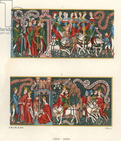 "Tapestry, 1360-1420, from the Museum of Sigmaringen (Germany), depicting scenes from the epic poem ""Guillaume d'Orleans"""" by William IX of Poitiers, known as the Troubadour (1071-1126) and Godefroy de Bouillon (1058-1100) - Chromolithography, drawing by Jakob Heinrich von Hefner-Alteneck (1811-1903) for his book ""Costumes, crafts and instruments of the Middle Ages"" at the end of the 18th century"""", published by Heinrich Keller, Frankfurt, 1883"