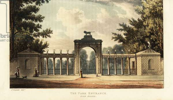 Park entrance to Sion House or Syon House, Isleworth, seat of the Duke of Northumberland, with gardens designed by Capability Brown. Handcoloured copperplate engraving after an illustration by John Gendall from Rudolph Ackermann's Repository of Arts, London, 1823.
