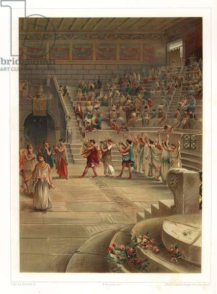 Interior of the Small Theatre or Odeon, Pompeii VIII.7.19. The audience in the roofed theater watches a performance by actors, chorus, musicians and dancers. Chromolithograph by Dietrich after an illustration by C. Gel from Antonio Niccoliniõs Pompeii: Views and Restorations (Pompeii: Essaies et Restorations), published by Fausto Niccolini, Naples, 1898. Antonio was grandson of the architect Antonio Niccolini Sr.