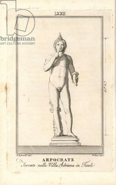 Statue of Arpocrate or Harpocrates, Greek god of silence. He holds a horn and wears a lotus flower on his head. Found in Hadrian's Villa at Tivoli. Copperplate engraving by Giacomo Bossi after an illustration by A. Tofanelli from Pietro Paolo Montagnani-Mirabilii's Il Museo Capitolino (The Capitoline Museum), Rome, 1820.
