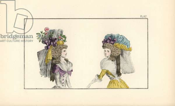 Woman in half-redingote and bonnet inspired by Calpigi. Woman in a canary yellow English-style taffeta dress and a blue silk cap.