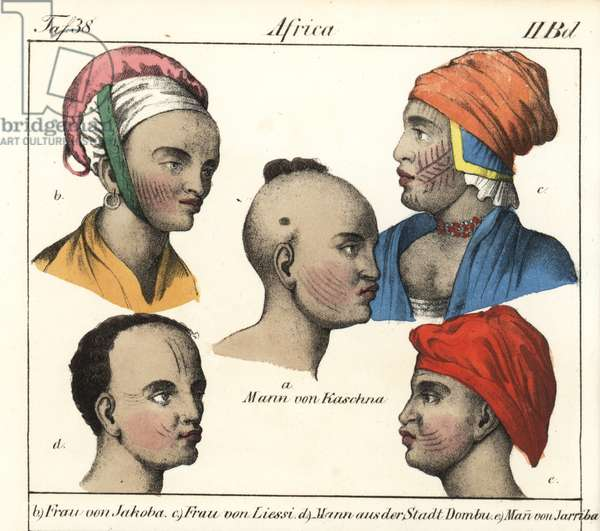 "Variety of hairstyles and hairstyles from Africa: Nigeria, Chad, Sierra Leone, and felatah. Lithography for the book: """" Galerie complete en tableaux fideles des peuples d'Afrique"" by Friedrich Wilhelm Goedsche (1785-1863), edition Meissen (Germany), 1835-1840. Man of Katsina (Nigeria), man of Jakoba kingdom (Hausa dependent), woman of Lussi region (Chad), man of Dombu city (Sierra Leone) and Felatah man of the Jarriba kingdom. Handcoloured lithograph from Friedrich Wilhelm Goedsche's """" Vollstaendige Voelkergallerie in getreuen Abbildungen"""" (Complete Gallery of Peoples in True Pictures), Meissen, circa 1835-1840."