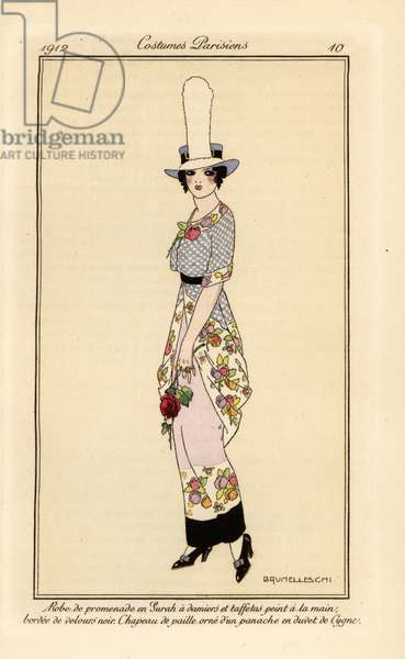 Woman in walking dress in chequerboard surah and hand-painted taffeta with a black velvet border, straw hat with swan plume, 1912  (stencil)