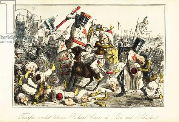 King Richard I fighting Saladin at the Battle of Arsuf (Azotus), Palestine, 1191