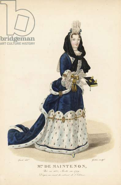 Francoise d'Aubigne, Madame Scarron, Marquise de Maintenon, second wife to King Louis XIV of France, 1635-1719. She wears a black hood over a tall lace and ribbon headdress (Fontange), a mantua with train of blue velvet with ermine, with a bejeweled ermine petticoat. After an enamel in the editor's collection. Handcoloured copperplate engraving by Georges Jacques Gatine after an illustration by Louis Marie Lante from Galerie Francaise de Femmes Celebres, Paris, 1827.