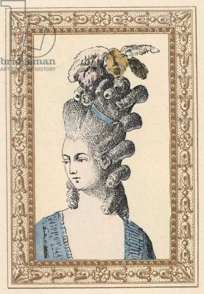 Woman in hairstyle with ringlets and plumes tied with a love band, 1770s. Love Bandon hairstyle. Handcoloured lithograph by de Laubadere from Octave Uzane's Stylish Hairstyle or Eccentric Finery from the era of King Louis XVI, Hairstyles de Style, La Parure Eccentric, Rouveyre, Paris, 1895.
