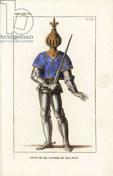 """John the Good, John II, King of France, battle armour, 1319-1364. He wears a bizarre spherical helmet topped with a fleur de liys, short tunic with coat of arms, and suit of armour in steel plate. From a print in the Gaignieres collection at the Bibliotheque du Roi. Handcoloured copperplate drawn and engraved by Leopold Massard from """""""" French Costumes from KingClovis to Our Days,"""""""" Massard, Mifliez, Paris, 1834."""