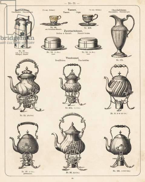 Chocolate pot, tea cut, biscuit box, tea pot, etc. Lithograph from a catalog of metal products manufactured by Wuerttemberg Metalware Factory, Geislingen, Germany, 1896.- Catalogue de produits metalliques fabriques par Wuerttemberg Metalware Factory, Geislingen, Germany, 1896 -