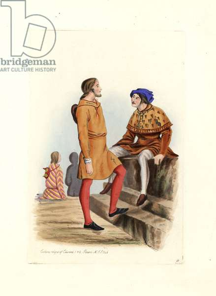"""Men's costumes 13th-14th century, wearing short tunics and colored stockings, at the time of King Edward I Plantagenet (1239-1307) and Edward II (1284-1327). Lithograph by Charles Martin, engraving by Leopold Martin, published in """""""" Costumes civils d'Angleterre depuis la conquete à nos jours"""", 1842, London."""