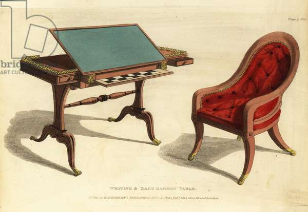 Regency-era writing and backgammon table with chair