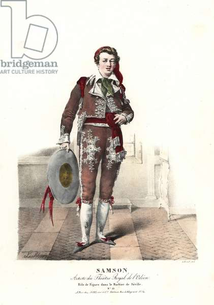 French actor Joseph-Isidore Samson as the barber Figaro in the opera Le Barbier de Seville by Gioachino Rossini, Theatre Royal de l'Odeon, 1823. Handcoloured lithograph by F. Noel after an illustration by Lavigne Marin from Portraits d'Acteurs et d'Actrices dans different roles, F. Noel, Paris, 1825.