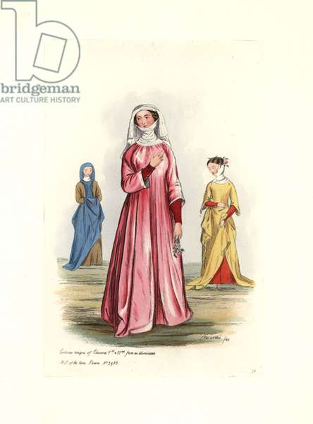 """Women's costume 13th-14th century, at the time of King Edward I Plantagenet (1239-1307) and King Edward II (1284-1327). From a manuscript of the period. Lithography by Charles Martin, engraving by Leopold Martin, published in """""""" Costumes civils d'Angleterre depuis la conquete à nos jours"""", 1842, London."""