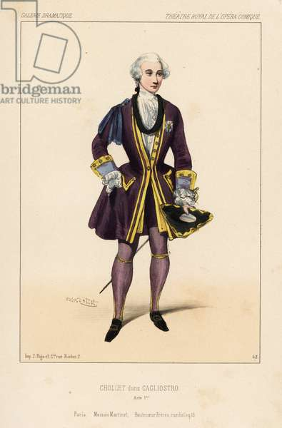 English singer Jean-Baptiste Chollet in the comic opera Cagliostro by Adolphe Adame, Henri Vernoy de Saint-Georges, Eugene Scribe, Theatre Royal de l'Opera Comique, 1844. Handcoloured lithograph after an illustration by Victor Dollet from Galerie Dramatique: Costumes des Theatres de Paris, Paris, 1845.