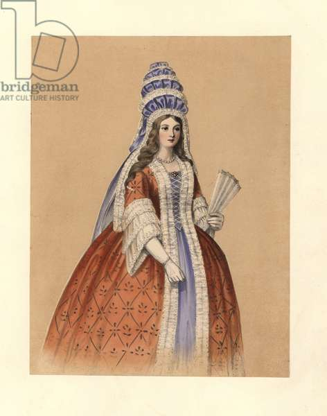 """Dress (Dress) of the reign of Queen Anne, 1702-1714. She wears a tall hat of ribbon and lace, a dress trimmed with lace, white gloves, and carries a lace fan. Addison's Spectator, prints and portraits, Horace Walpole. Handcoloured lithograph from """""""" Costumes of British Ladies from the Time of William the First to the Reign of Queen Victoria"""", London, Dickinson and Son, 1840."""