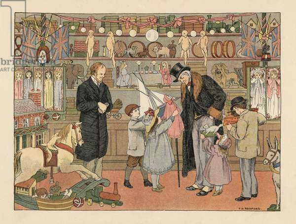 Victorian children choosing toys with their uncle in a toy store. Chromolithograph after an illustration by Francis Donkin Bedford from Edward Verrall Lucas' The Book of Shops, 1899.