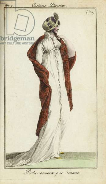 Fashionable woman in straw hat, dress and shawl, 1801 (handcoloured copperplate engraving)