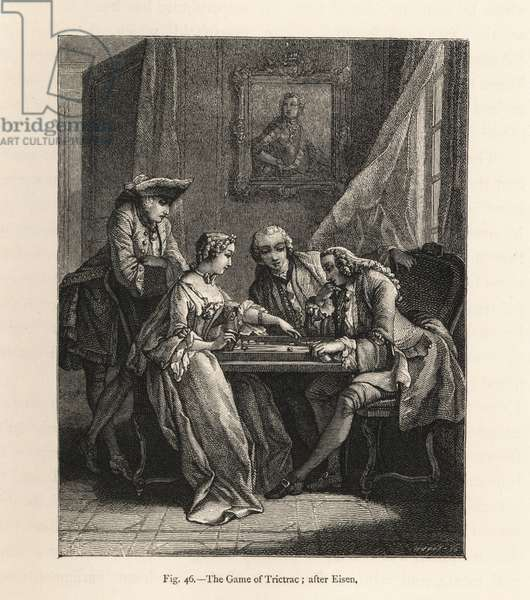 Fashionable party playing the game of trictrac in an 18th century parlour. English game similar to backgammon. Woodblock engraving from Paul Lacroix 'The Eighteenth Century: Its Institutions, Customs, and Costumes, London, 1876.