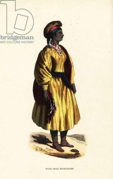 Young girl of Sokna, Fezzan, Kingdom of Tripoli (Libya)