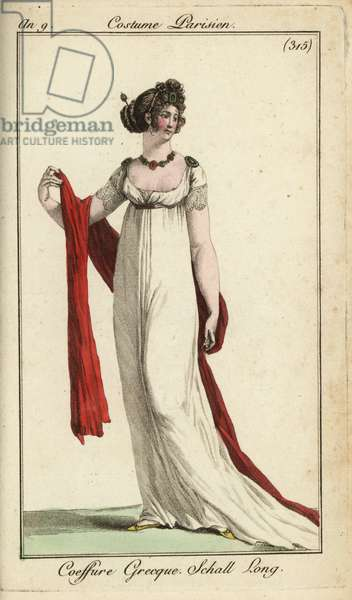 Fashionable woman or Merveilleuse in ancient Greek hairstyle, 18 (handcoloured copperplate engraving)