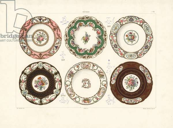 Plates: flowers by Barrat 1782, flowers by Chapuis 1778, flowers by Hunk 1782, composition by Capelle and flowers by Hunk 1782, flowers and children by Vande owned by Madame du Barry 1773, composition by Capelle and flowers by Hunk 1782. Chromolithograph by Gillot of an illustration by Edouard Garnier from The Soft Paste Porcelain of Sevres, Maison Quinn, Paris, 1891.