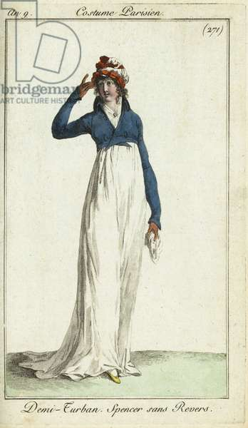 Fashionable woman in a half-turban and spencer jacket, 1800 (handcoloured copperplate engraving)