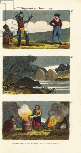 Samuel Hearne watching a Native American sword-swallower 58, North American beaver, Castor canadensis 59 and Indians boiling water in a wooden barrel with hot stones 60