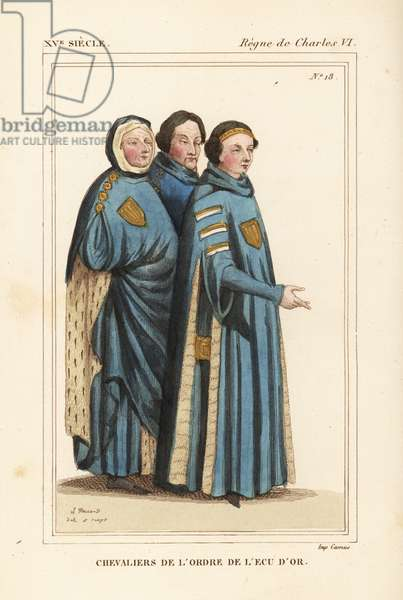 Knights of the Order of the Golden Shield, knights of the order of the ecu d'or, founded by Louis II Duke of Bourbon in 1369. The ceremonial robes have gold shields on the chest. Handcoloured lithograph by Leopold Massard after a miniature in a manuscript book of Hommages du Comte de Clermont from Le Bibliophile Jacob aka Paul Lacroix's Costumes Historique de la France (Historical Costumes of France), Administration de Librairie, Paris, 1852.