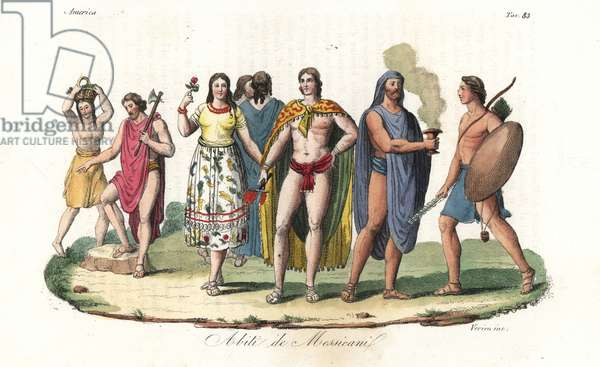 Costumes of the native Mexicans and Aztecs. Men wearing the Maxtlat belt and Tilmatli cloak knotted at the chest, women wearing Cucitl skirt and Huepilli camisole. Handcoloured copperplate engraving by Verico from Giulio Ferrario's Ancient and Modern Costumes of all the Peoples of the World, 1843.