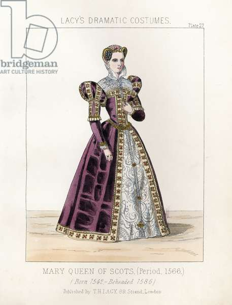 "Mary Queen of Scots (born 1542, beheaded 1586) (Mary I Stuart, Queen of Scotland), circa 1566. Handcoloured lithograph from Thomas Hailes Lacy's """" Female Costumes Historical, National and Dramatic in 200 Plates,"" London, 1865. Lacy (1809-1873) was a British actor, playwright, theatrical manager and publisher."