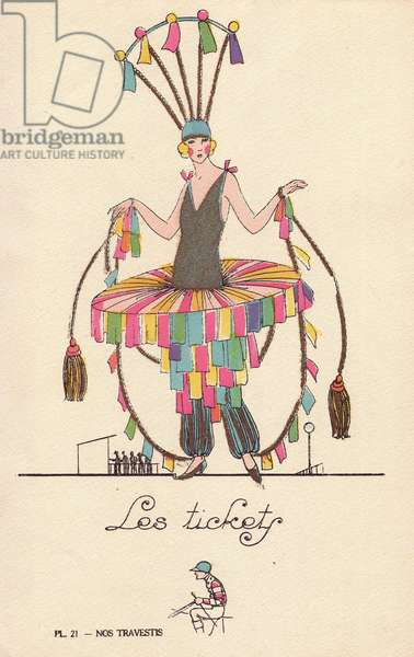 "Woman in costume made from betting stubs, les tickets, at the horse races, with skirt, pantaloons, headdress and reins decorated with betting stubs. Lithograph by unknown artist with stencil handcolouring from """" Nos Travestis"""" (Our Fancy Dress Costumes), Paris, 1928."