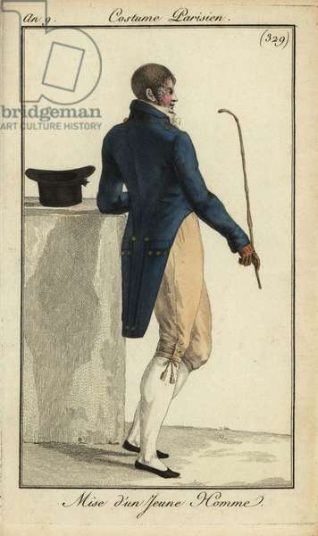 Outfit of a young man or Incroyable, 12 September 1801 (handcoloured copperplate engraving)
