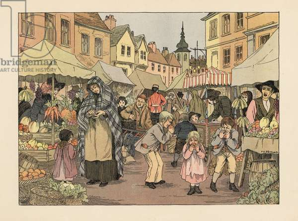 Victorian children eating penny oranges from fruit and vegetable stalls in a market in London's East End. Chromolithograph after an illustration by Francis Donkin Bedford from Edward Verrall Lucas' The Book of Shops, 1899.