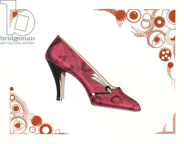 Woman's shoe design in pink snakeskin leather within an art deco abstract border. Chromolithograph from Andre Camy's La Chausage d'Art, The Art Shoe, August-September, Paris, 1930.