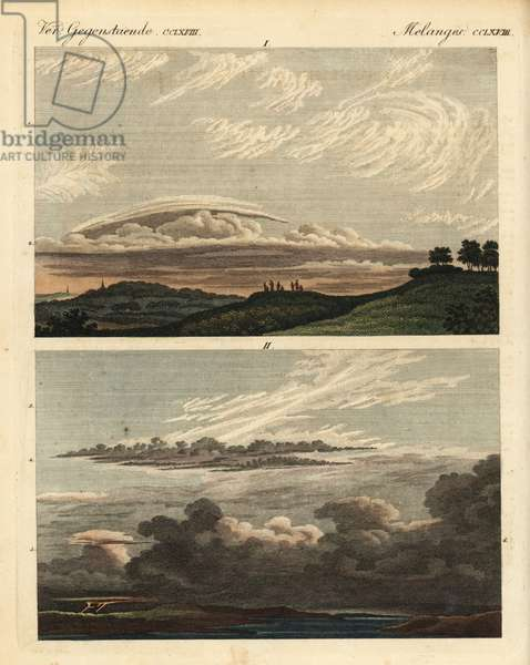 Natural history of clouds: cirrus, cirrostratus, cirrocumulus, nimbus, etc. Handcoloured copperplate engraving from Friedrich Johann Bertuch's Bilderbuch fur Kinder (Picture Book for Children), Weimar, 1823.