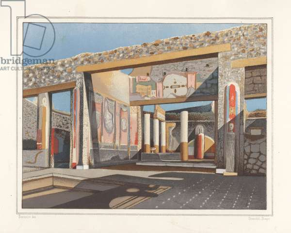 View of the tablinum, a room off the atrium, in the house of the banker Lucius Caecilis Iucundus, Reg V, Ins 1, 26. Chromolithograph by Victor Steeger after an illustration by Geremia Discanno from Emile Presuhn (1844-1878) The Most Beautiful Paintings of Pompeii, Leipzig, 1881.
