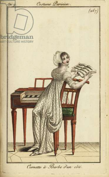 Fashionable woman playing a harpsichord, 1800 (handcoloured copperplate engraving)