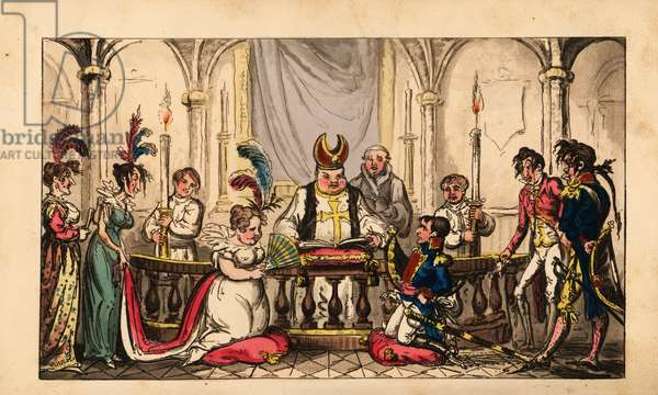 Marriage of Napoleon Bonaparte and Josephine de Beauharnais at Notre Dame, 1804. Handcoloured copperplate engraving by George Cruikshank from The Life of Napoleon a Hudibrastic Poem by Doctor Syntax, T. Tegg, London, 1815.