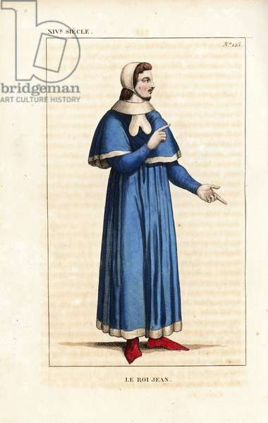 """John the Good, John II, King of France, 1319-1364. He wears a simple blue robe lined with fur, white skullcap, red shoes. From a portrait in Sainte-Chapelle, Paris. Handcoloured copperplate drawn and engraved by Leopold Massard from """""""" French Costumes from KingClovis to Our Days,"""""""" Massard, Mifliez, Paris, 1834."""