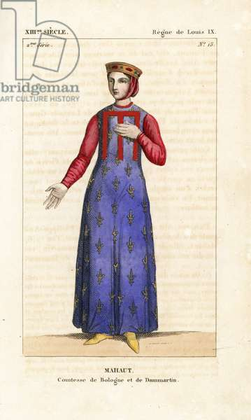 """Mahaut or Matilda II, (Mathilde d'Artois or Mahaut d'Artois, 1268-1329) Countess of Burgundy, 13th century. She wears a crown decorated with gems, veil over her hair, a blue coat-of-arms tunic with gold fleurs de liys, and tunic with pink sleeves. Handcoloured copperplate drawn and engraved by Leopold Massard from """""""" French Costumes from KingClovis to Our Days,"""""""" Massard, Mifliez, Paris, 1834."""