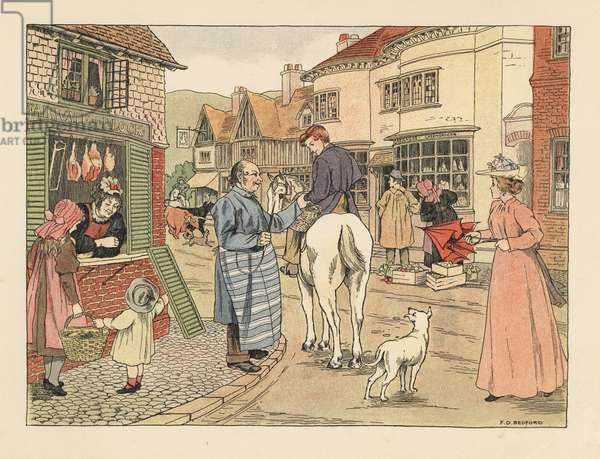Victorian butcher and butcher's boy on horseback in a village street. Chromolithograph after an illustration by Francis Donkin Bedford from Edward Verrall Lucas' The Book of Shops, 1899.