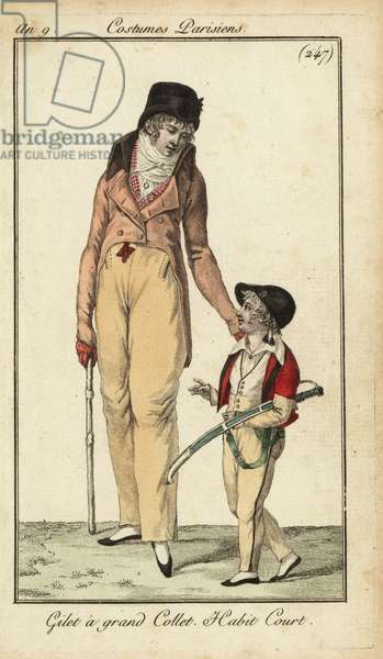 Fashionable gentleman or Incroyable with cudgel, Paris, 1799 (handcoloured copperplate engraving)